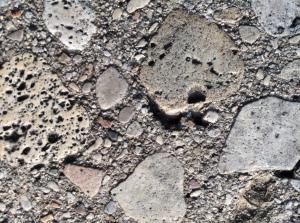 A closeup of an aggregate substance.