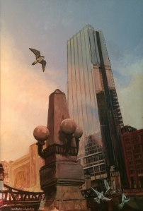 Painting by Christopher Cudworth of Chicago skyline with peregrine falcon.